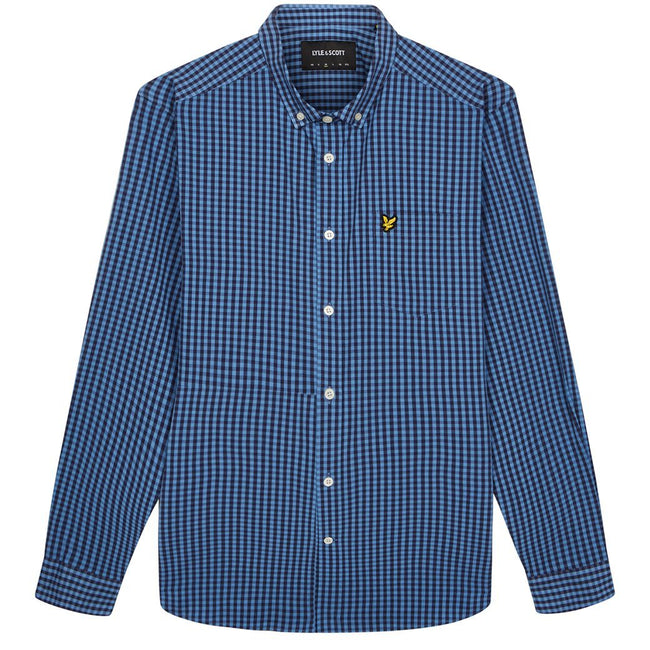 Lyle & Scott Slim Fit Gingham Shirt in Cornflower Blue