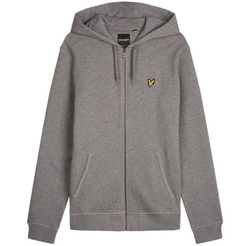 Lyle & Scott Zip Through Hoodie in Mid Grey Marl Hoodies Lyle & Scott