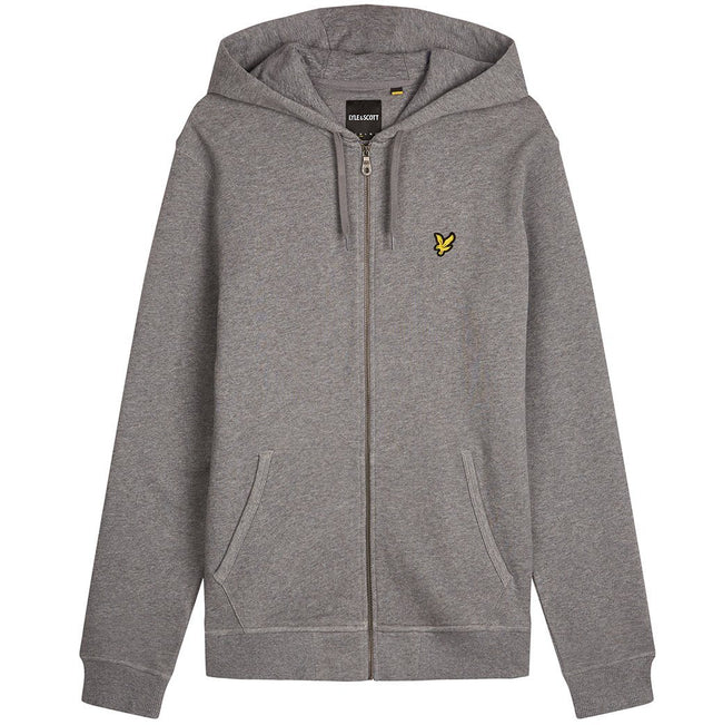 Lyle & Scott Zip Through Hoodie in Mid Grey Marl