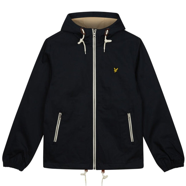 Lyle & Scott Hooded Twill Jacket in Dark Navy