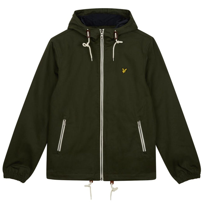 Lyle & Scott Hooded Twill Jacket In Dark Sage
