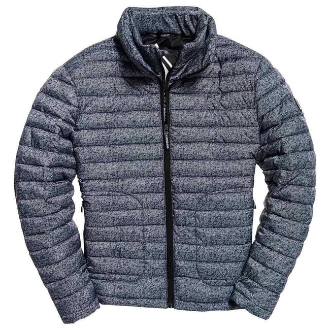Superdry Double Zip Fuji Jacket in Twill Print Grey Coats & Jackets Superdry