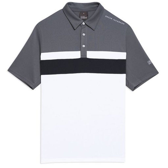 Oscar Jacobson Boston Course Striped Golf Polo Shirt in Dark Grey