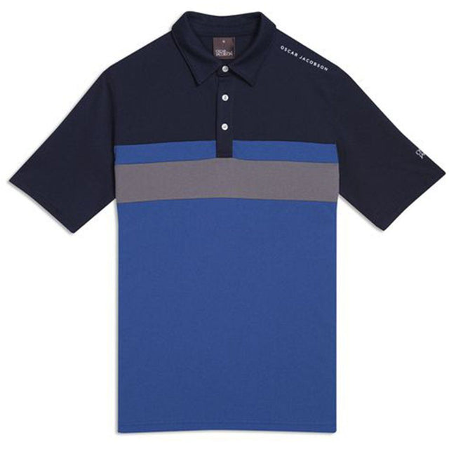 Oscar Jacobson Boston Course Striped Golf Polo Shirt in Navy