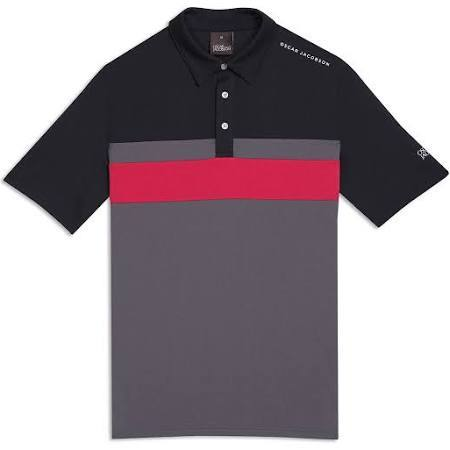 Oscar Jacobson Boston Course Striped Golf Polo Shirt in Black