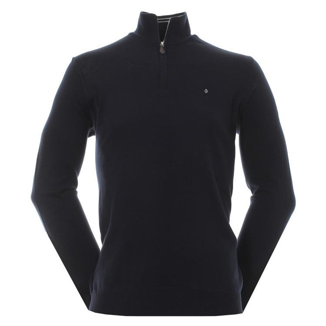 Oscar Jacobson Waldorf Pin Half Zip in Navy Jumpers Oscar Jacobson