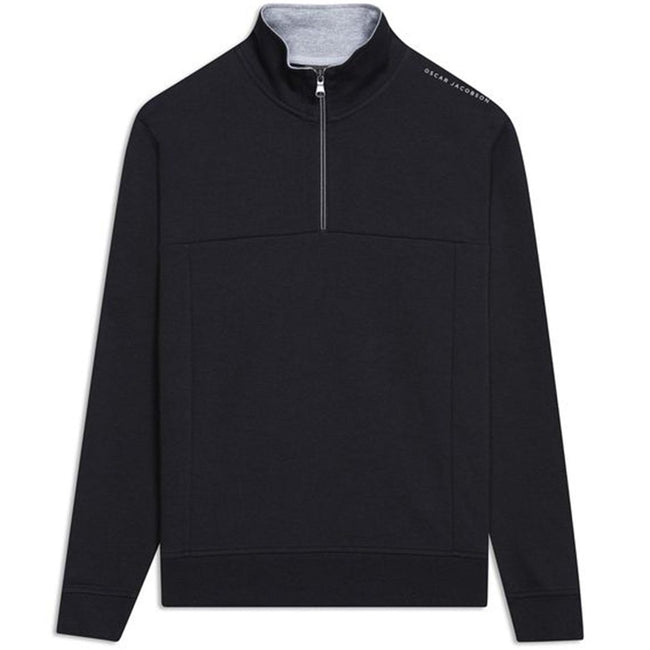 Oscar Jacobson Hawkes Half-Zip Golf Sweater in Black