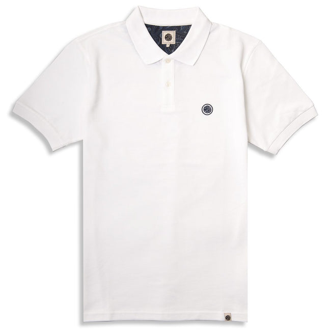Pretty Green Pique Polo in White/ Navy