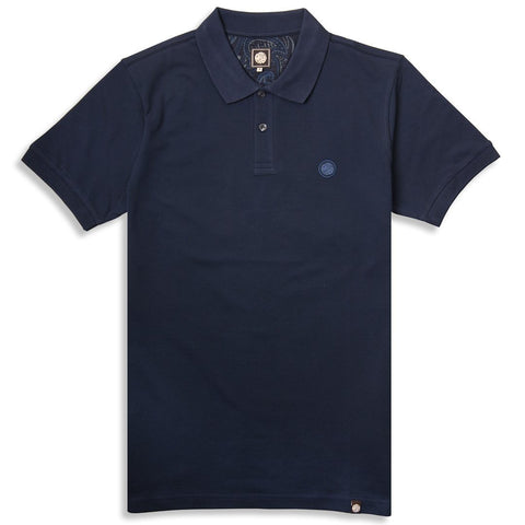 Pretty Green Pique Polo In Navy Polo Shirts Pretty Green