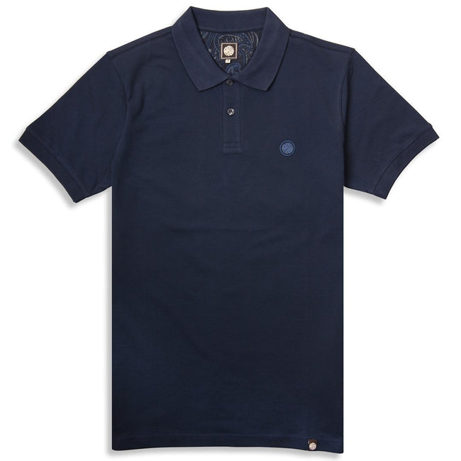 Pretty Green Pique Polo In Navy