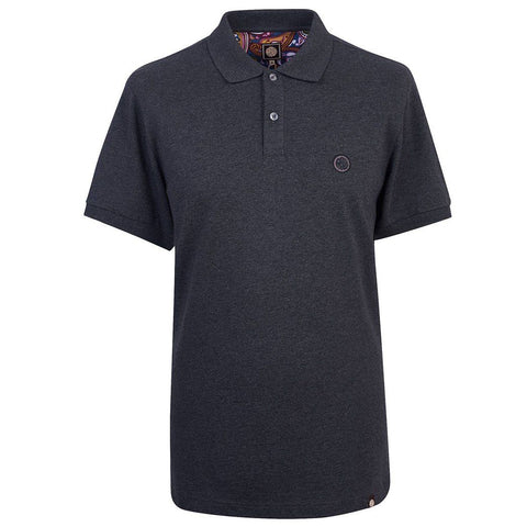 Pretty Green Pique Polo In Dark Grey Marl Polo Shirts Pretty Green