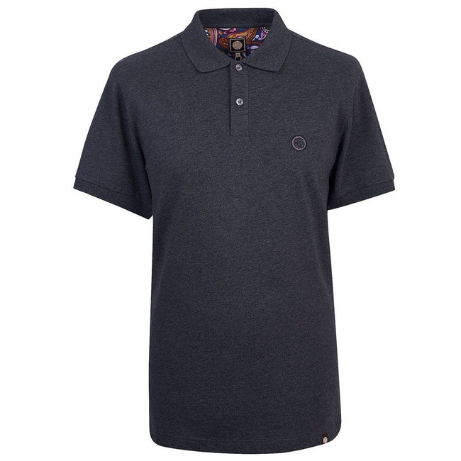 Pretty Green Pique Polo In Dark Grey Marl
