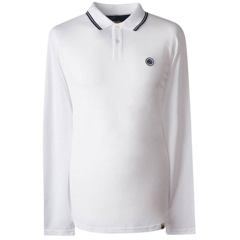 Pretty Green Long Sleeved Pique Polo In White/ Navy Polo Shirts Pretty Green