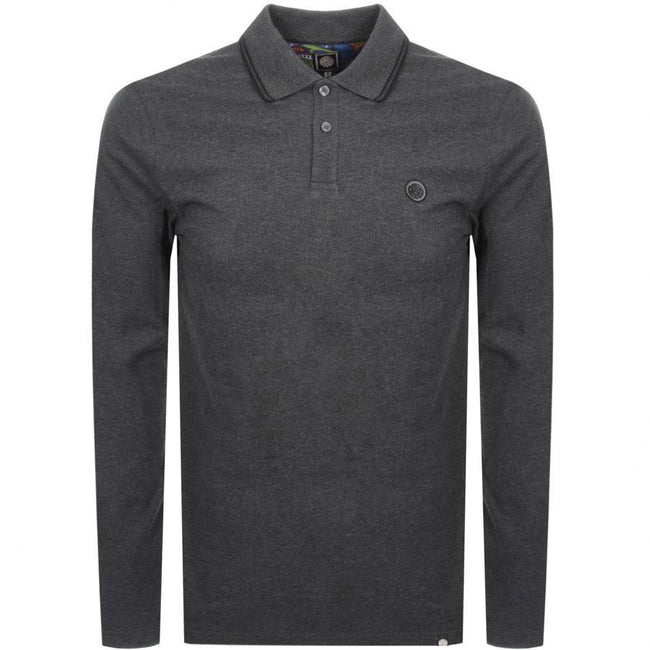 Pretty Green Long Sleeved Pique Polo In Dark Grey Marl