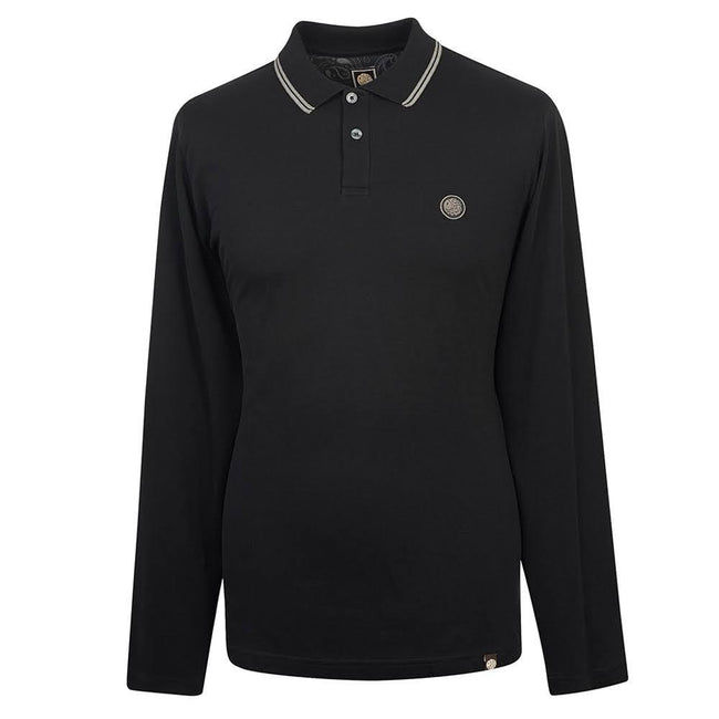 Pretty Green Long Sleeved Pique Polo In Black
