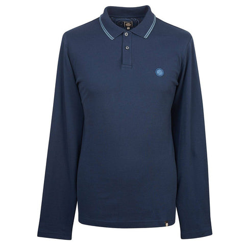 Pretty Green Long Sleeved Pique Polo In Navy Polo Shirts Pretty Green