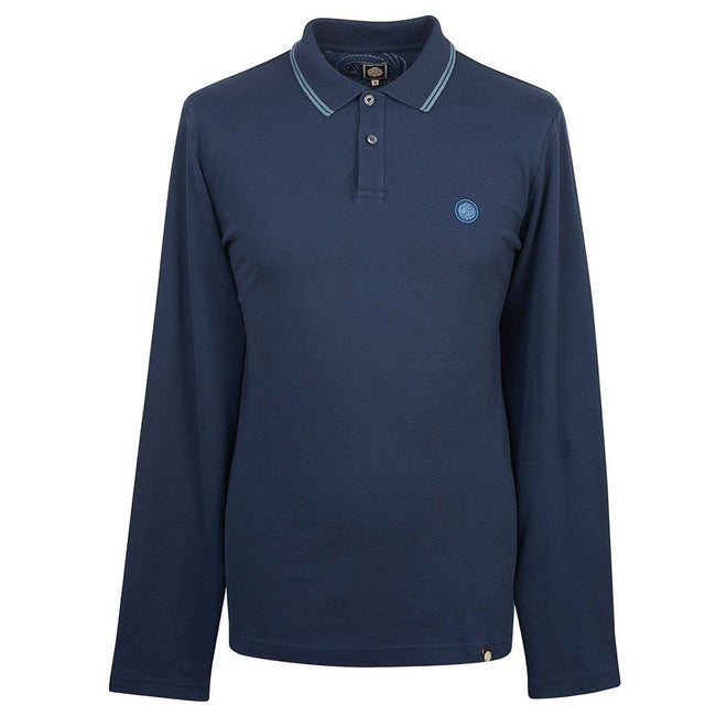 Pretty Green Long Sleeved Pique Polo In Navy