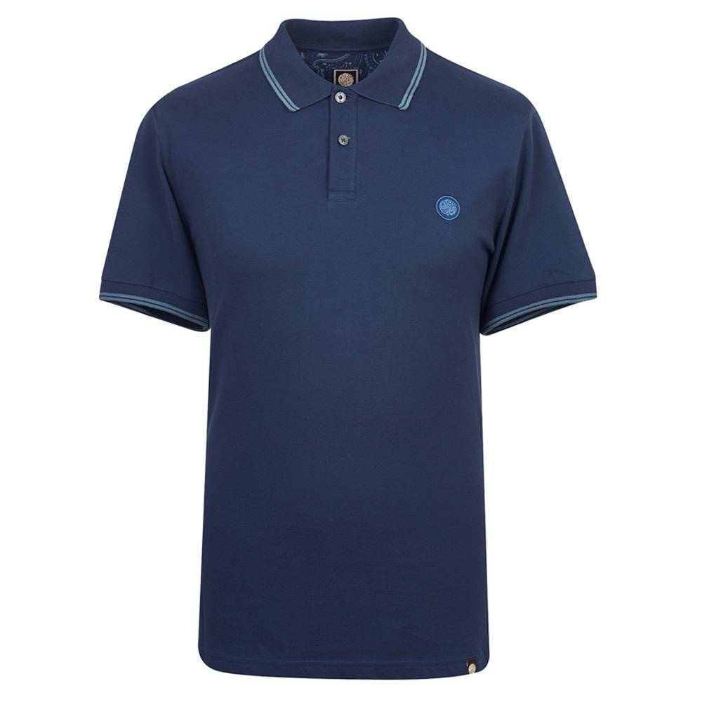 Pretty Green Tipped Pique Polo in Navy