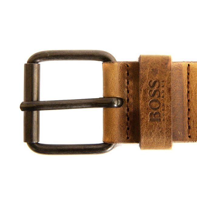 BOSS Athleisure Jesse Leather Belt in Medium Brown Belts BOSS