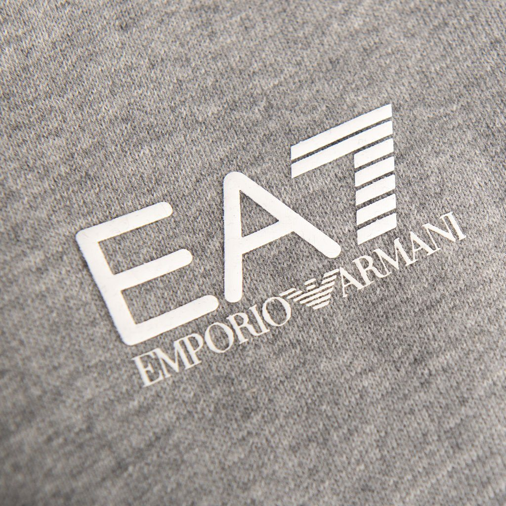 EA7 Emporio Armani Full Zip Hooded Sweatshirt in Medium Grey Marl