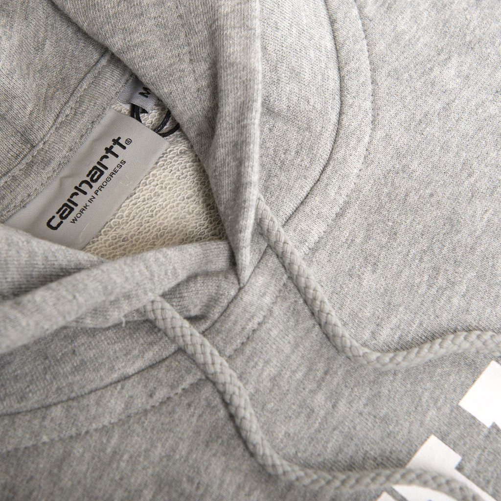 Carhartt Hooded College Sweatshirt in Grey Heather/White
