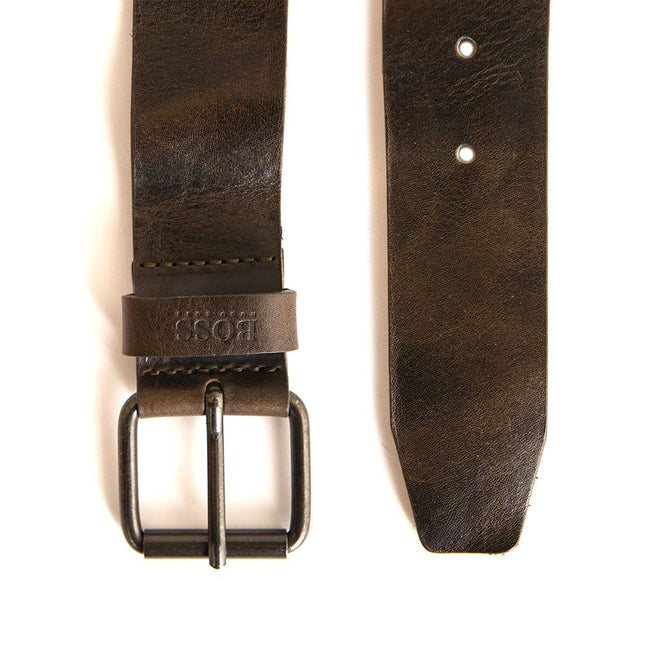 BOSS Athleisure Jesse Leather Belt in Dark Brown Belts BOSS