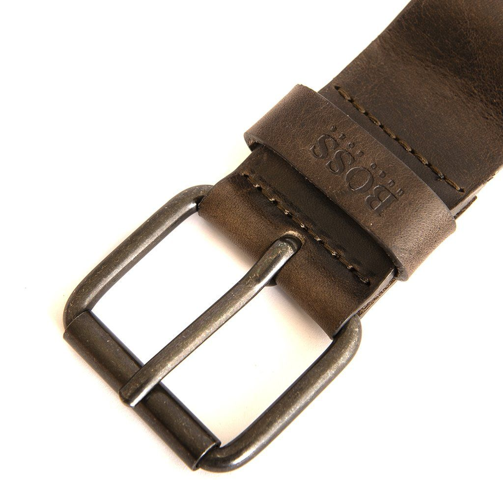 BOSS Athleisure Jesse Leather Belt in Dark Brown