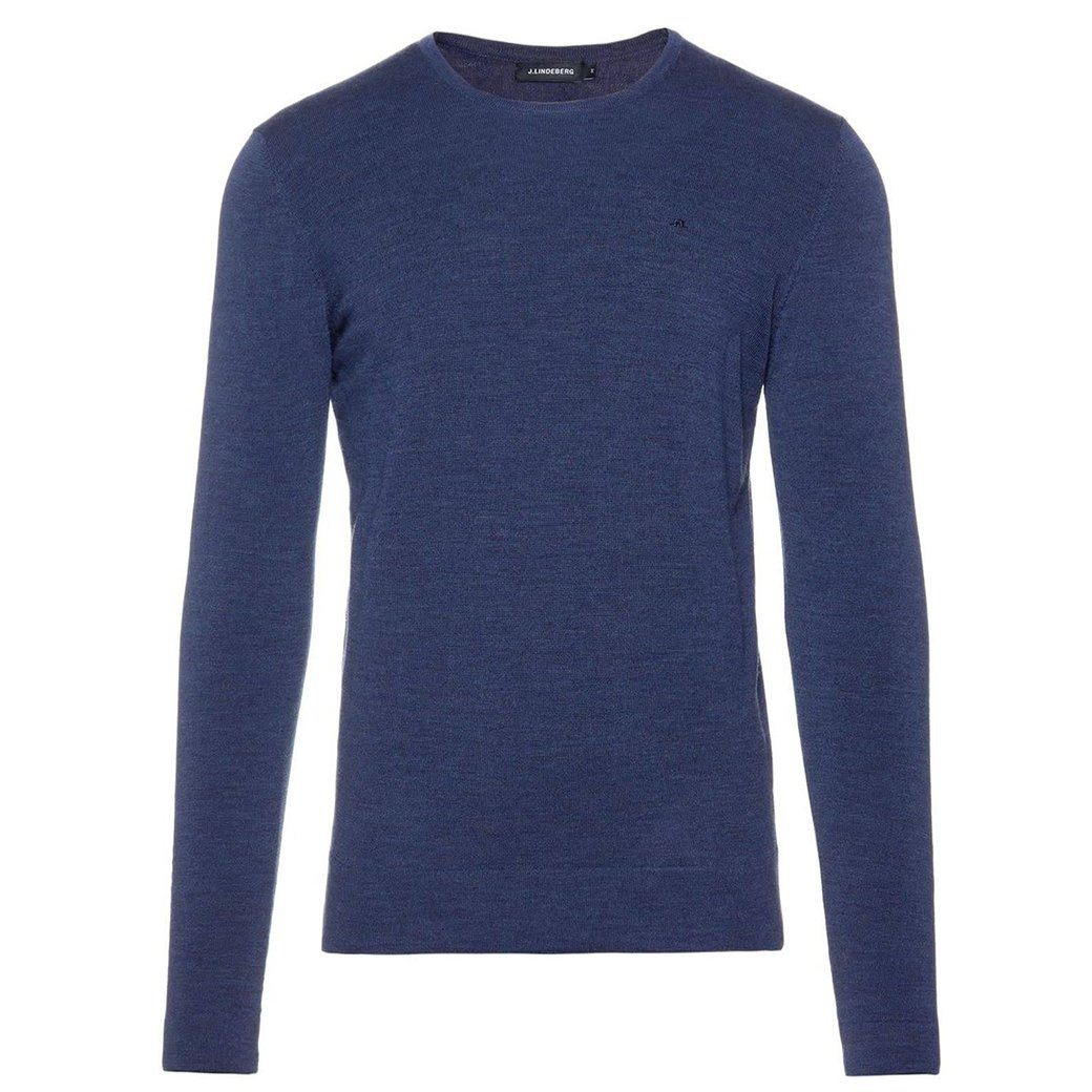 J. Lindeberg Newman C-Neck Perfect Merino Sweater in Mid Blue Jumpers J. Lindeberg