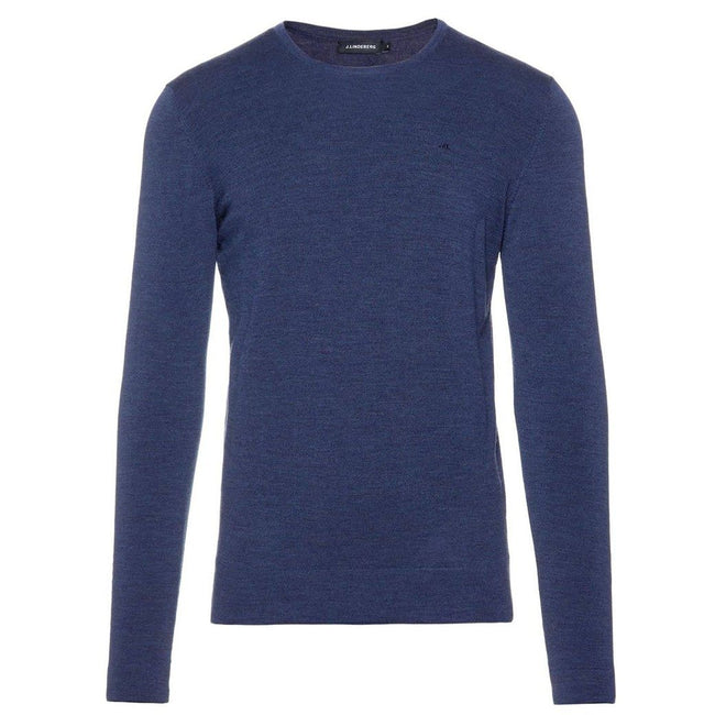 J Lindeberg Newman C-Neck Perfect Merino Sweater in Mid Blue