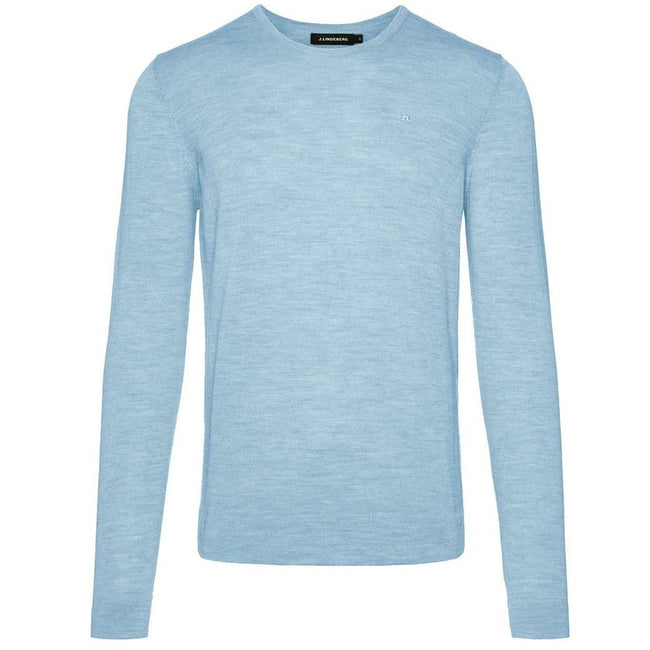 J. Lindeberg Newman C-Neck Perfect Merino Sweater in Ice Flow Jumpers J. Lindeberg