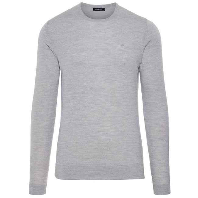 J. Lindeberg Newman C-Neck Perfect Merino Sweater in Stone Grey Jumpers J. Lindeberg