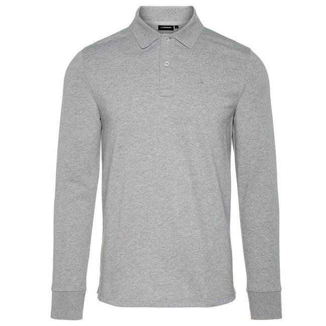J. Lindeberg Luke Pique Polo Shirt In Light Grey Melange