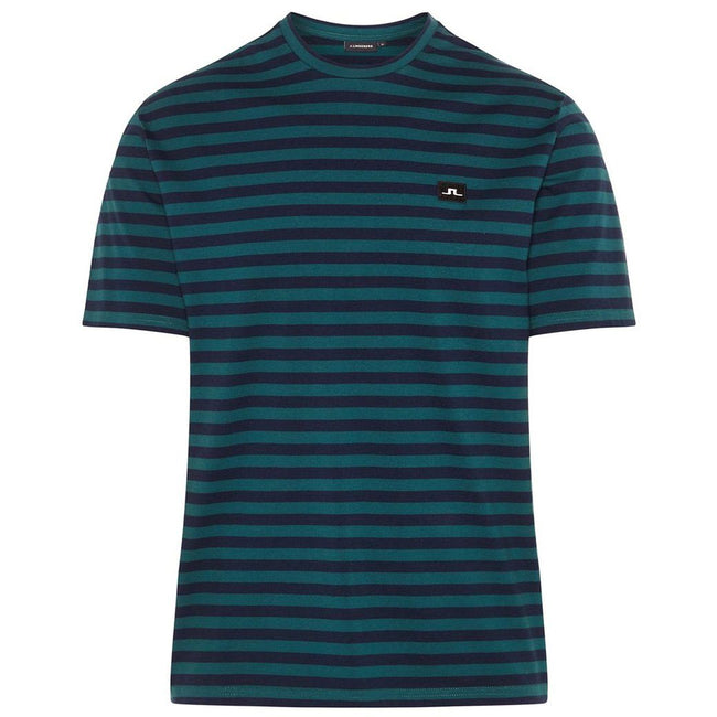 J. Lindeberg Charles Plain Stripe T-Shirt in Pine
