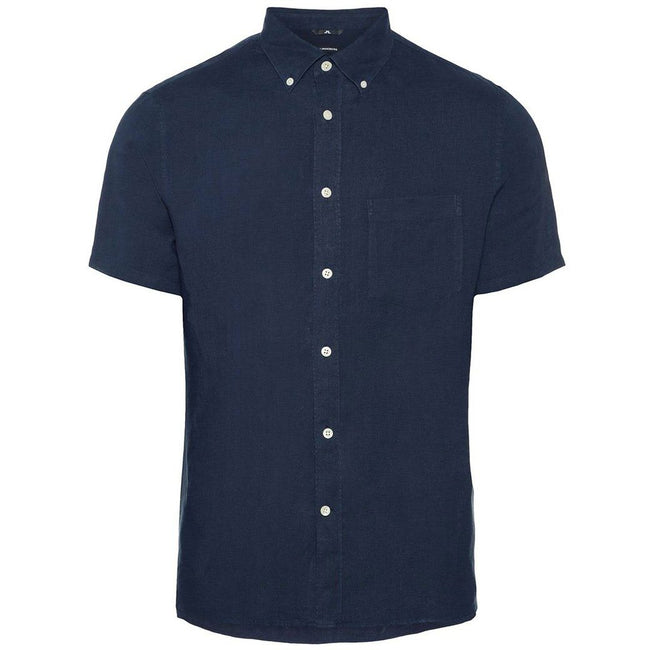 J. Lindeberg Daniel Short Sleeved Linen Melange Shirt in Navy