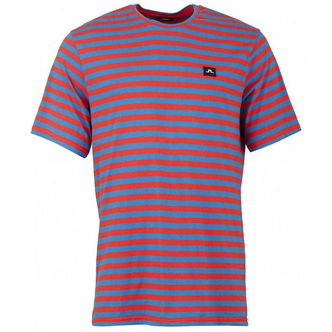 J. Lindeberg Charles Plain Stripe T-Shirt in Deep Red T-Shirts J. Lindeberg