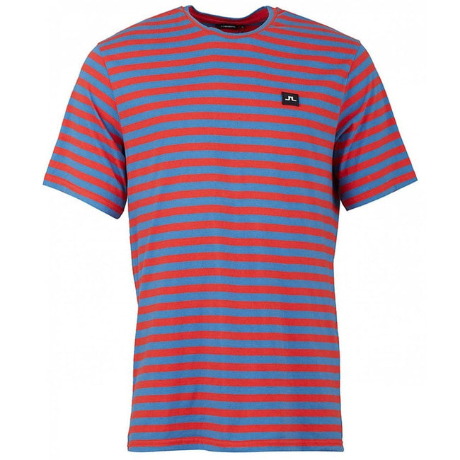 J. Lindeberg Charles Plain Stripe T-Shirt in Deep Red