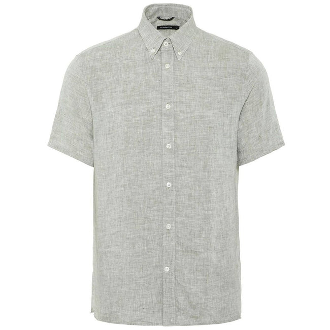 J. Lindeberg Daniel Short Sleeved Linen Melange Shirt In Ivy Green