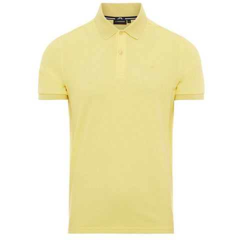 J. Lindeberg Troy Clean Pique Polo Shirt in Butter Yellow Polo Shirts J. Lindeberg