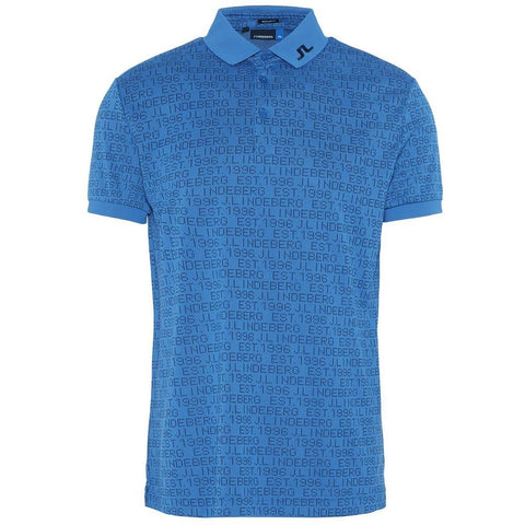 J. Lindeberg M KV Jaquard Regular Fit Polo Shirt in Blue Polo Shirts J. Lindeberg
