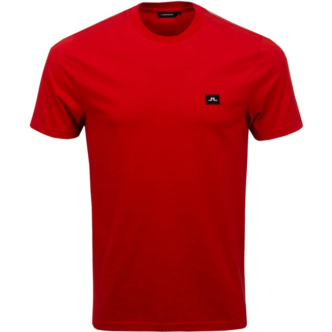 J. Lindeberg Bridge Short Sleeved Jersey T-Shirt in Deep Red