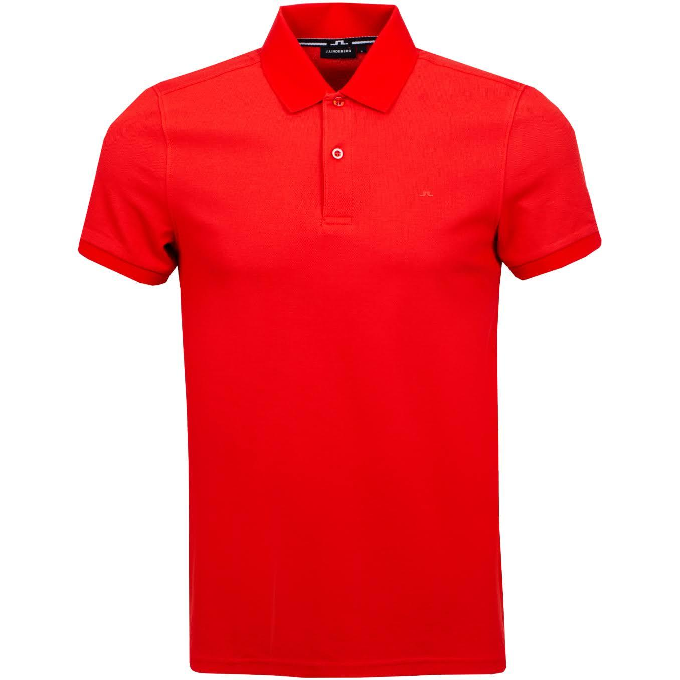 J. Lindeberg Troy Clean Pique Polo Shirt in Deep Red