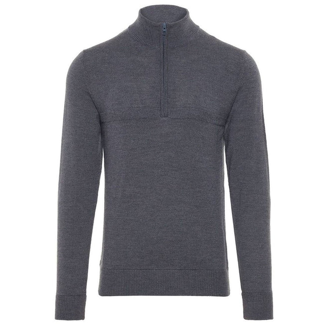 J. Lindeberg M Erik Tour Merino Sweater in Grey Melange Jumpers J. Lindeberg