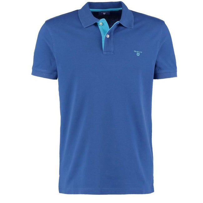 Gant The Contrast Collar Pique SS Rugger Pique Polo in College Blue