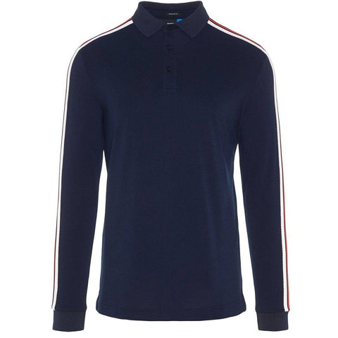 J. Lindeberg M Blue Long Sleeved Regular Cool Pique Polo in Navy Polo Shirts J. Lindeberg