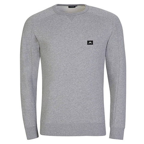 J. Lindeberg Throw Crew Neck Ring Look Sweat in Light Grey Melange Jumpers J. Lindeberg