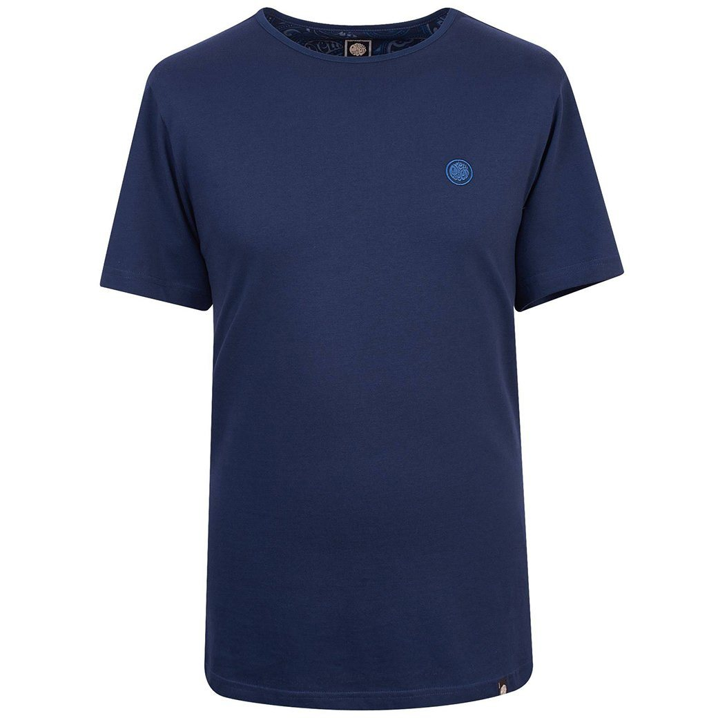 Pretty Green Cotton T-Shirt in Navy