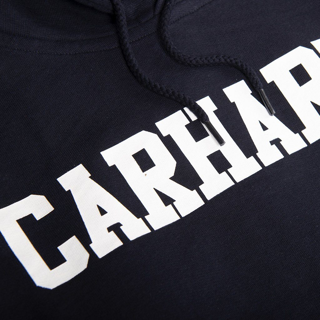 Carhartt Hooded College Sweatshirt in Dark Navy/ White Hoodies Carhartt