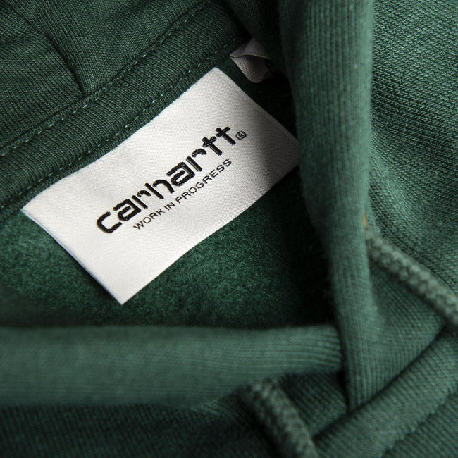 Carhartt Hooded Chase Sweat in Bottle Green/ Gold Hoodies Carhartt