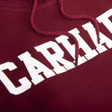 Carhartt Hooded College Sweat in Cranberry/ White Hoodies Carhartt