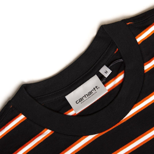 Carhartt Short Sleeved Houston Pocket T-Shirt in Black/ White/ Orange